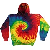Colortone Unisex Rainbow Hoodie / Kapuzenpullover, Batik-Optik (Medium) (Regenbogen)