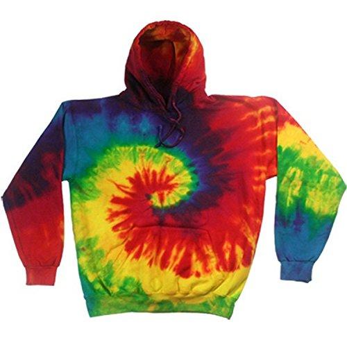 Colortone - Sudadera con capucha teñida Modelo Rainbow Tie Dye Unisex (Mediana (M)/Arcoiris)