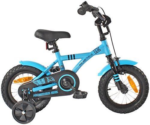 PROMETHEUS Kinderfahrrad 12 Zoll Jungen in Blau & Schwarz mit Stützrädern | Seitenzugbremse und Rücktrittbremse | ab 3 Jahren | 12