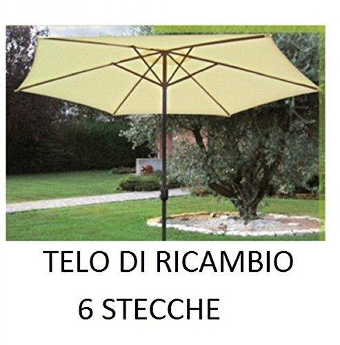 Megashopitalia top telo di ricambio per ombrellone con palo centrato decentrato in alluminio legno tondo Ø300 cm diametro 6 stecche con airvent ecrù