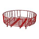 Robustes, rundes 2 in 1 Abtropfgestell / Korb für Spülbecken, Edelstahl, 37cm Durchmesser (passend für die meisten runden / eckigen Waschbecken in privaten und gewerblichen Bereichen) rot