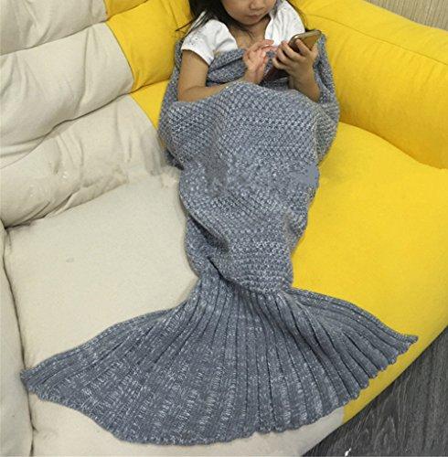 HENGSONG Meerjungfrau Decke, Mermaid Schwanz Blanket, Meerjungfrau Häkeln Decke Sofa Schlafdecke, Weiche Strick Mermaid Schwanz Schlafsack für Baby Kinder Size 90*50cm (Grau)