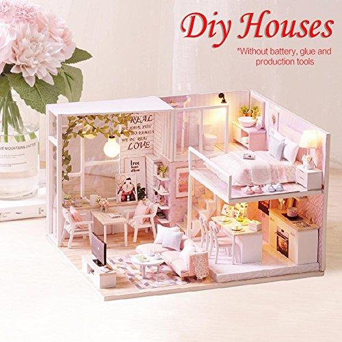 Motto.h DIY Puppenhaus Bauhaus Miniatur-Haus mit LED-Licht Puppenhaus aus Holz