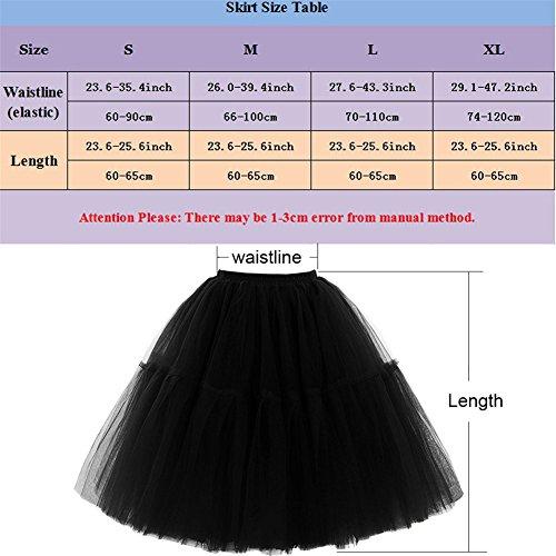 Omela Tüllrock Damen Vintage Tutu Rock Tanzrock Unterrock Petticoat Prinzessin Rock (Schwarz,66-100) - 2