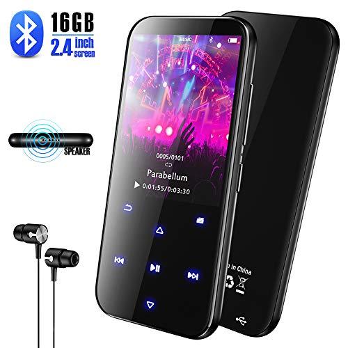 Olycism 16GB Tragbarer Bluetooth MP3 Musik Player mit Eingebautem Lautsprecher und FM Radio Funktion Diktiergerät Video E-Book Unterstützt 128GB TF Speicherkarte inklusive kopfhörer und USB Kabel