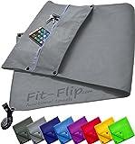 3-tlg Fitness-Handtuch Set mit Reißverschluss Fach + Magnetclip + extra Sporthandtuch | zum Patent angemeldetes Multifunktionshandtuch, Fit-Flip Microfaser Handtuch (grau)