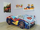 topbeds Bett für Kinder Design Matratze Inklusive Racing Car 160x80 (Rot-Blau Auto)