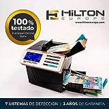 HILTON EUROPE HE-6100 Contador totalizador de Billetes portátil con batería cuenta dinero mezclado con
