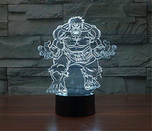 Image of SmartEra® 3D Optical Illusion 2016 New Hulk Panel Model Lighting Night 7 Color Change USB Touch Button LED Desk Table Light Lamp