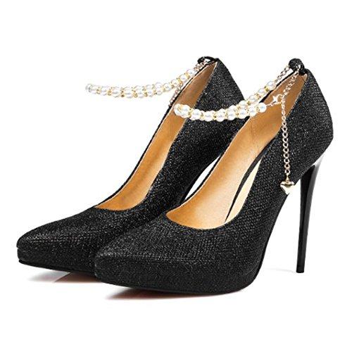 Femme escarpins brillant à talon haute bouts pointu chaussures sexy femmes soirée club Noir