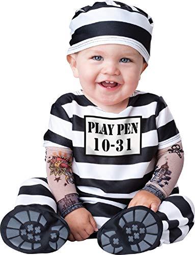 Baby Kostüm Gefangener - Fancy Me Deluxe Baby Jungen Mädchen Time Out Sträfling Gefangener Charakter Halloween Kostüm Kleid Outfit - Schwarz/weiß, Schwarz/weiß, 6-12 Months