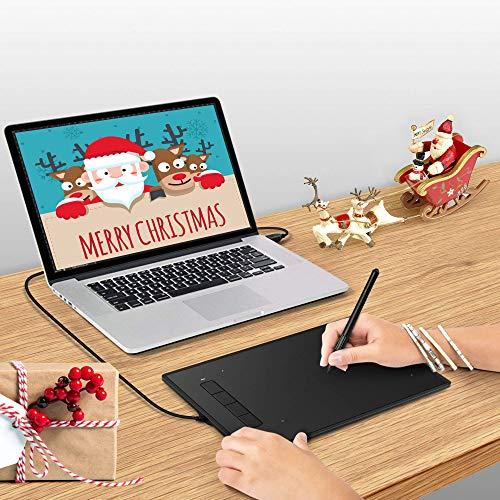 INTEY 9x6Zoll Grafiktablett mit Digital-Stift/Smart Zeichentablett Stylus mit 4 Expresstasten Grafik Tablets 5080 LPI Kabellos Batterielos Stift für Mac Windows und OSU!(Geschenk für 5 x Stift Nibs)
