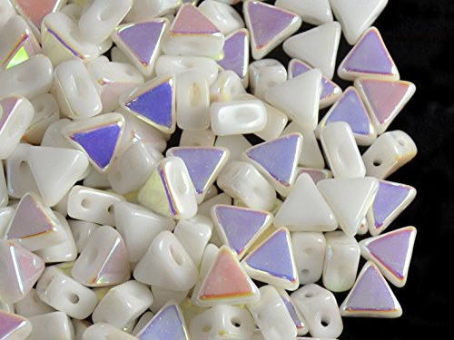 50pcs Kheops Par Puca Beads - Tschechische Druckperlen von dreieckiger Form, mit zwei Löchern, 6...