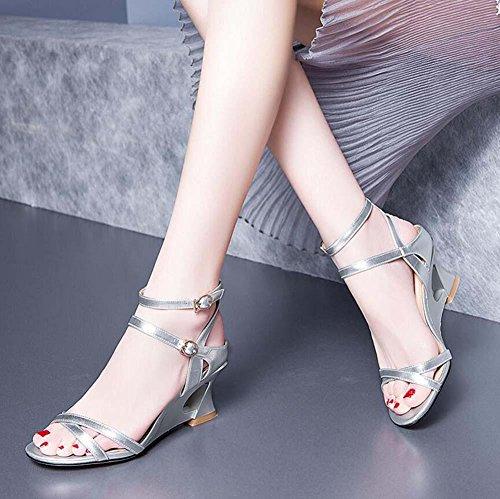 Onfly Donne Pepe punta Sandali Tacco a cuneo Cinturino alla caviglia Fibbia della cintura Pompe romano Tacchi alti Sandali Silver
