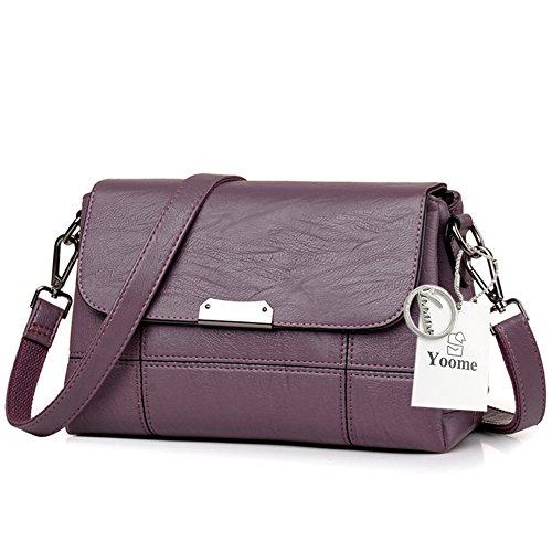 Yoome Soft Große Kapazität Flap Tasche Multi Taschen Tasche Vintage Taschen für Teenager Womens Messenger Bag - Schwarz Lila