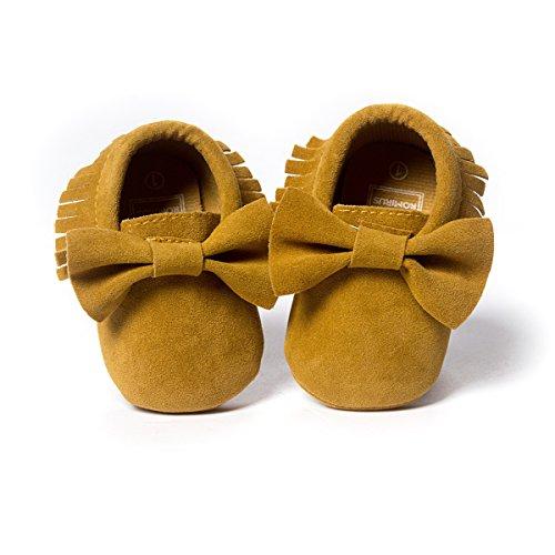 ZOEREA Super weich Rauleder Anti-Rutsch Lauflernschuhe Krabbelschuhe Babyschuhe Kinderschuhe Krippe Schuhe für Laufanfänger Baby Mädchen Jungen 0-18 Monate Gold