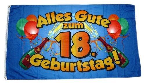 Fahne / Flagge Alles Gute zum 18. Geburtstag 90 x 150 cm (18 Flagge)