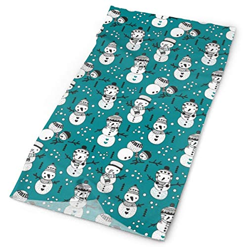 Cute Winter Snowman Sweet Snow Woodland With Snow Puppet In Black And White And Teal Blue 100% Cotton Headband Wrap Scarf Wristband Face Mask Bandanas for Dust Outdoors Festivals Sports