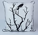 "Bird Print 100% Cotton Cushion Cover Decorative Pillowcase Home Sofa Decor 18"" X 18"""