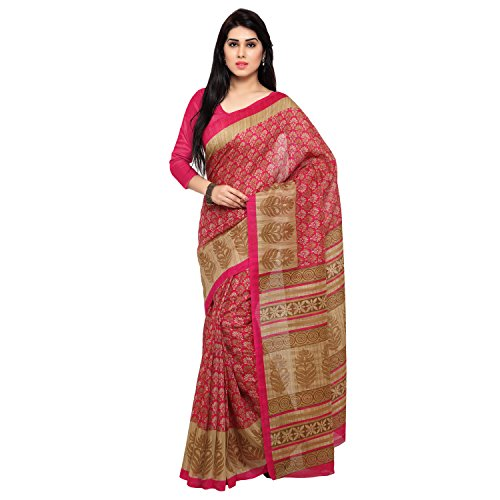 Florence Pink & Beige Khadi Silk Printed Saree with Blouse  available at amazon for Rs.591