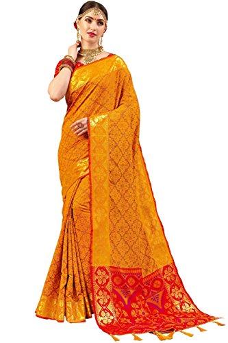 EthnicJunction Pochampally Designer Resham Thread Woven Patola Silk Saree With Unstitched Booti...