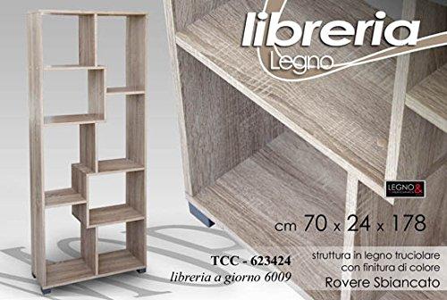 Giardicasa Libreria Legno Colore Rovere Cm 70x24x178h Arredo Design 8 Scomparti TCC 623424