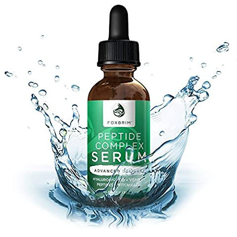 Peptide Complex Serum - BEST Anti Aging Serum - Anti Wrinkle Skin Care - Advanced Delivery - Facial Skin Care - Natural & Organic - Plump, Smooth and Even Skin - For Collagen Production & Optimal Skin Health - Amazing Guarantee 1oz by Foxbrim