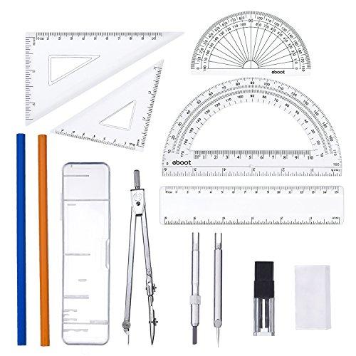 13 Stück Geometrie Set Lineal Zirkel mit Winkelmesser Mathe Werkzeug Set für Schule