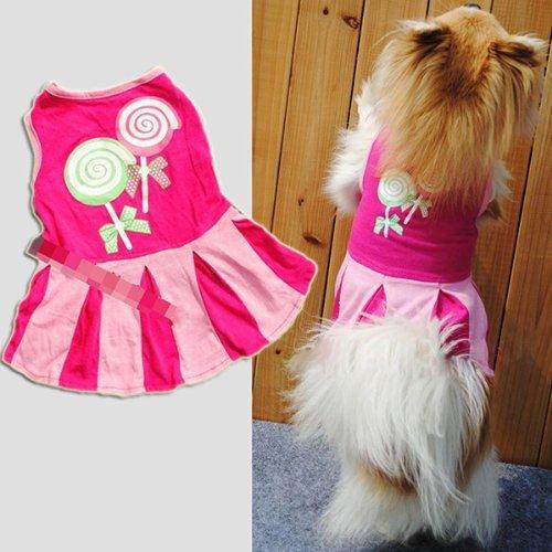 Fengh Motiv Süßigkeiten Herzen Kreis Muster Welpen Kleidung Bekleidung Doggie Dog Sweatshirts Rock Kleid (Pink), Größe S -