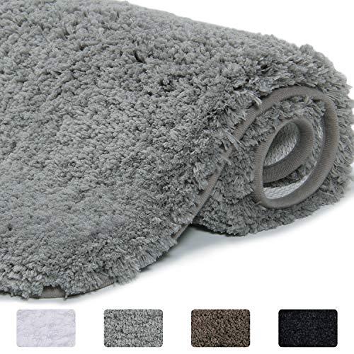 Lifewit wasserabsorbierende Badematte, rutschfeste antibakterielle Duschmatte aus Gummi, Mikrofaser-Badezimmermatte, Grau, 60 x 40 x 4 cm