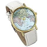 Lancardo Damen Herren Armbanduhr, Fashion Casual Weltkarte Analog Quarz Uhr mit Leder Armband, Weiss