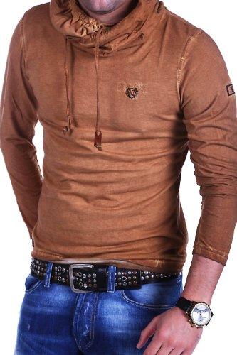 Tazzio Longsleeve High Neck Vintage T-Shirt 4100 Braun