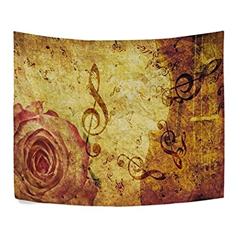 Grunge Rose and Music Notes Polyester House Decor Wall Hangings Tapestry Wall Carpet 60x40 Inch Apartment