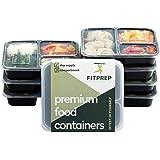 [7er Pack] FITPREP® 3-Fach Premium Meal Prep Container Set mit Deckel   ideal für 1 Woche Mahlzeitvorbereitung   perfekte Portionskontrolle für Gewichtsverlust oder Muskelaufbau   Stapelbar, Wiederverwendbar, Spülmaschinenfest, Mikrowellengeeignet   Bento Box   Lunchbox