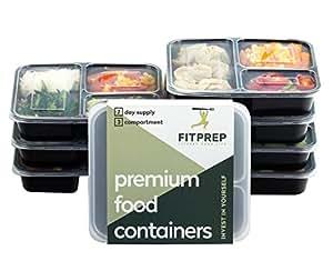 [7er Pack] Original FITPREP® 3-Fach Premium Meal Prep Container Set| Stapelbar, Wiederverwendbar, Spülmaschinenfest, Mikrowellengeeignet | Bento Box | Lunchbox