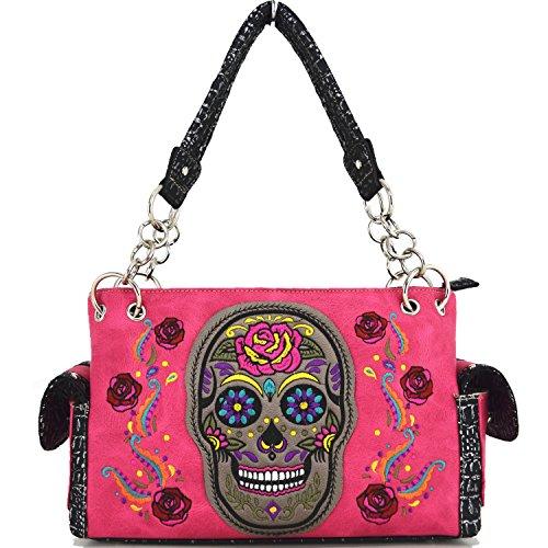 Blancho Biancheria da letto delle donne [Colorful Bone] borsa di cuoio elegante di modo Borsa fucsia Handbag-Fuchsia