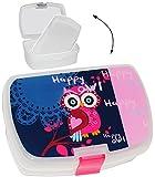 """Lunchbox / Brotdose - """" lustige Eule auf dem Baum """" - mit extra Einsatz / herausnehmbaren Fach - Brotbüchse Küche Essen - für Mädchen & Jungen - Kinder Vesperdose - Brotzeitdose / Trennwand - Fächern - Eulen / pink - rosa blau / Tier Herzen - Dose Box leicht transparent / Einlagefach - Einlegefach - Frühstücksbox"""