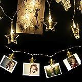 Foto-Clip Lichterketten, LED String Lichter Sterne Lichterketten Weihnachtsdekoration AA Batterie betrieben mit 3M 20 LED für Garten-Patio, Party Hochzeit, Geburtstag, Urlaubsparty, Sternform warmes Weiß