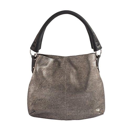 Tilla...Le Borse , sac bandoulière femme lizard laminato bronzo (manico nero)