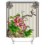 SHENMAHU SHOP Duschvorhang,Chinesische Art - sch?ne Blumen-Pfingstrose Benutzerdefinierte Badezimmer...