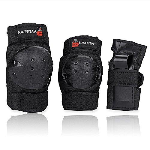 Navestar Protektoren Set Schoner Set für Kinder und Erwachsene, Schutzausrüstung Set mit 2 Kniepolster, 2 Ellbogenpolster, 2 Handgelenkpolster, Schwarz (Kinder)