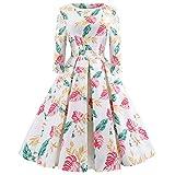 MRULIC Robe de Soirée Rockabilly Robe Rétro Vintage années Robe sans Manches 1950s Audrey Hepburn Cocktail Femme Robe De Bal Swing à Fleurs
