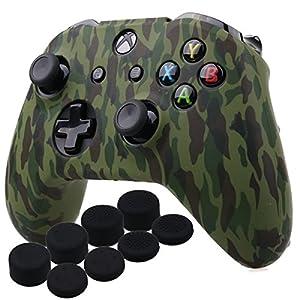 YoRHa Wassertransferdruck Silikon Hülle Abdeckungs Haut Kasten für Microsoft Xbox One X & Xbox One S Controller x 1 (Wald) Mit PRO aufsätze Thumb Grips x 8