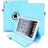 Custodia per iPad 2/3/4, RC copertina con Rotazione a 360 gradi Custodia in Pelle PU per Apple iPad 2 3 4 con Smart Cover (Azzurro Cielo)