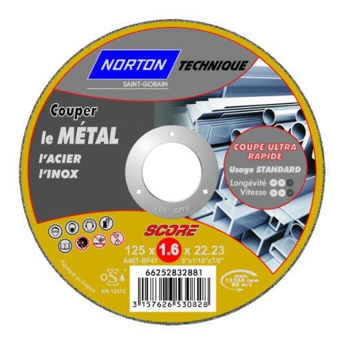 Norton score Trennscheiben-Technik, schmal, flach, Metall, 125 x 1,6 x 22,2 mm