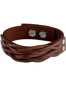 Designer Lederarmband aus Echt-Leder und Edelstahl in braun oder schwarz   größenverstellbar von 18 cm – 22,5...