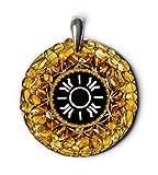 Sun–Bernstein Amulett mit antiken Baltischer Zeichen für Licht, Glück und die Erfüllung. Handgefertigt Halskette–Spirituelle New Age Pagan Baltischer