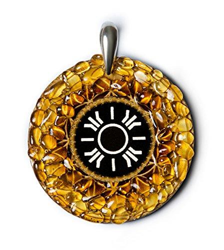Sol–ámbar amuleto con Ancient Báltico señal para luz, suerte y cumplimiento. Hecho a mano collar–espiritual New Age Pagan Báltico
