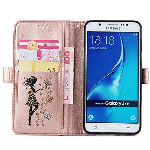 Custodia Samsung Galaxy J7 2016, ISAKEN Samsung Galaxy J7 Cover con Strap, Elegante borsa Dente di leone Design in Pelle Sintetica Ecopelle PU Case Cover Protettiva Flip Portafoglio Case Cover Protezi Girl: rose gold