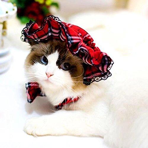 Running Pet Karo Lace Hut mit Ohren Holes Party Maid Kostüm Headwear für kleine große Hunde und Katzen (Maid Hut)